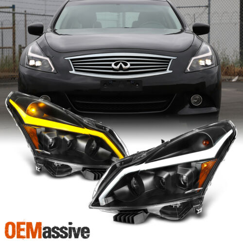 Fits 10-13 G37//G25//Q40 Sedan Switchback LED Signal Projector Headlight Black