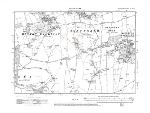 old map Berkshire 1914 Kingston Bagpuize 9NW Southmoor