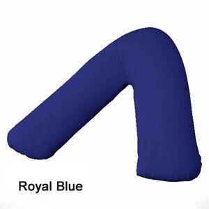 En-forma-de-V-Espalda-amp-Cuello-Soporte-Poly-Algodon-Funda-Almohada-Azul-Real-solo