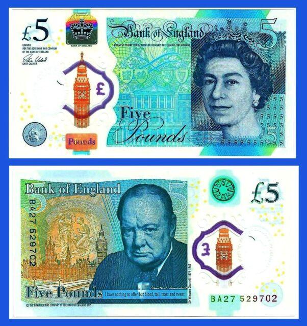 GREAT BRITAIN 5 £ POUNDS ENGLAND UK 2016 QE II POLYMER CHURCHILL P 394 UNC
