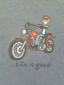Mens-Life-Is-Good-Motorcycle-Jake-Riding-T-Shirt-Sz-L