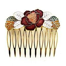 "Cloisonne 2.25"" Hair Comb White Flower Painted Enamel Vintage Style Updo Clip"