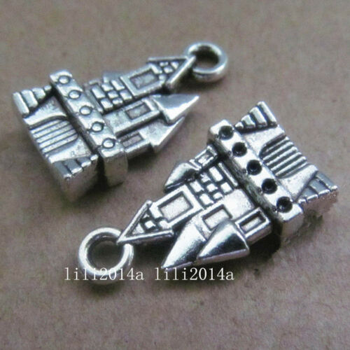 10pc Tibetan Silver Charms 2-Sided Villa Castle Pendant Jewellery Making PL327
