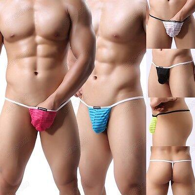 Men's Gauze Sheer G-string Underwear Sexy Striped Thongs Nightwear Size M L XL