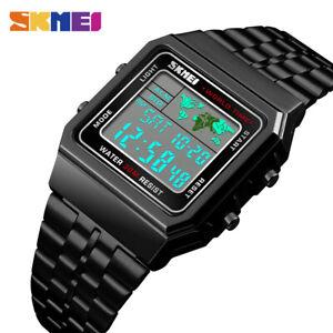 SKMEI-World-Time-Men-039-s-Luxury-Casual-Watch-Waterproof-Digital-Sport-Watch-1338