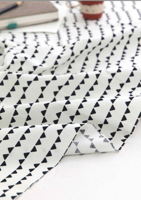 Black Triangles 100% Cotton Fabric / All sizes /  fabric off cuts (fft136)