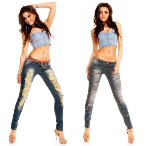 JEANS ROVINATI Jeans Donna Pantaloni Con Borchie cricche TUBO Slim Skinny Pantaloni Look