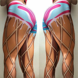 7cfcc857c66 Details about Sexy Women's 3D Graphic Print Fake Shorts Skinny Stretchy  Pants Yoga Leggings
