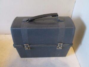 Plastic-Aladdin-Thermos-Dome-Top-Work-Job-Vintage-Lunch-Box-Pail-Black