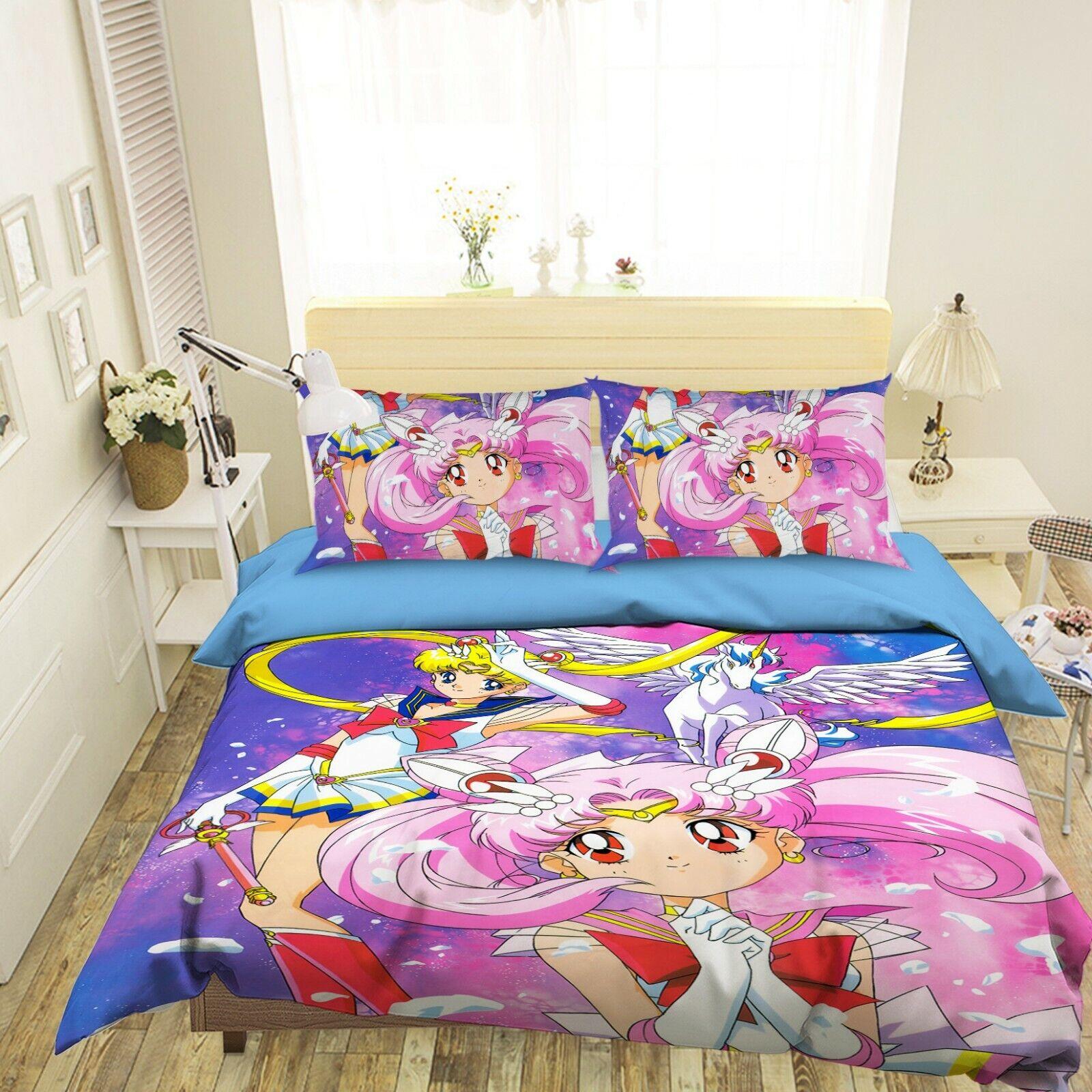 3D Sailor Moon 92 Japan Anime Bett Pillowcases Quilt Duvet Startseite Set Single