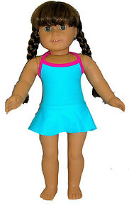 Blue One Piece Swimsuit Fits 18 inch American Girl Dolls