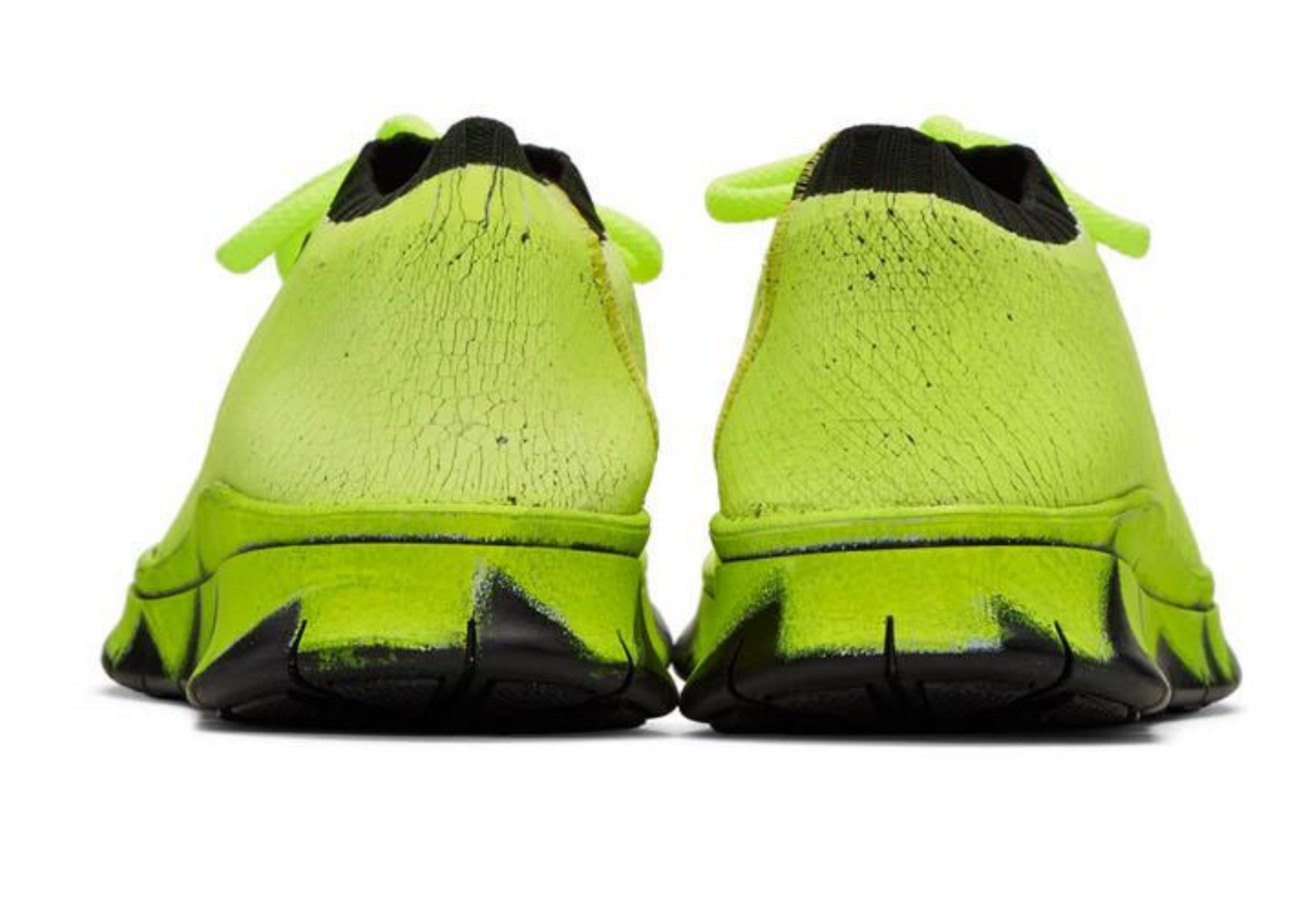 Maison Margiela Deadstock Painted Fluorescent Crackle Knit Shoes Trainers 41