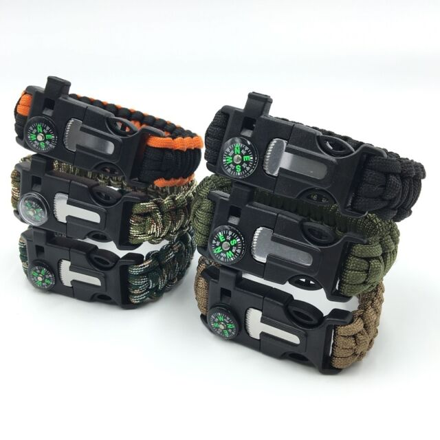 Paracord Survival Bracelet Flint Fire Starter Scraper Compass Whistle Gear Kits