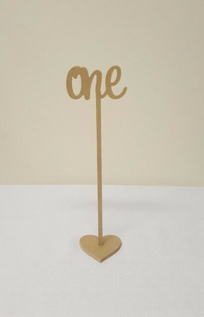 Set of 15 Freestanding wedding wooden table numbers with base/sticks