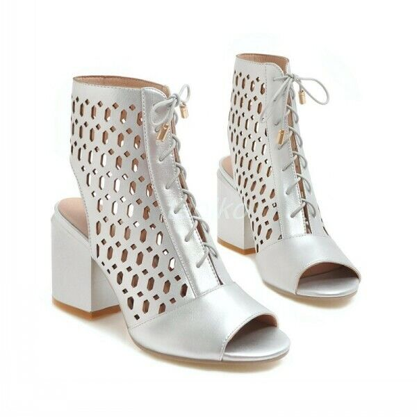 Silver Silver Silver Women Peep Toe Hollow Out Lace Up Ankle Boots Block Heel Sandals shoes sz 20b5ba