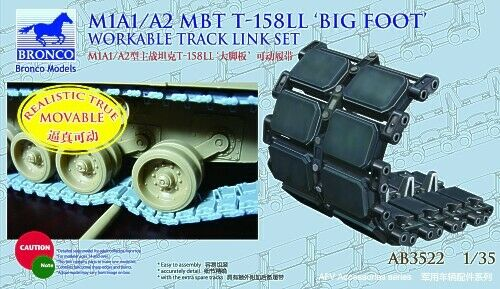 Bronco 1//35 M1A1//A2 MBT T-158LL `Big Foot/' Workable Track Link # AB3522