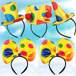Cute-Polka-Dot-Clown-Hat-Headband-Hair-Hoop-Circus-Jester-Dress-Costume-Prop-Pre