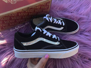 9f630443ba36a Details about Women Old Skool Skate Vans Black Customized with Swarovski  Crystals SIZE 6.5
