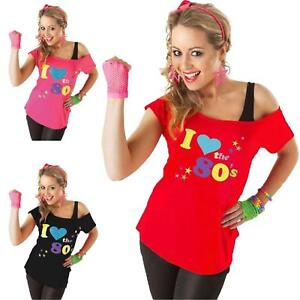 Womens I Love The 80s Printed Off Shoulder Bardot Retro Popstar T shirt Top 8-26