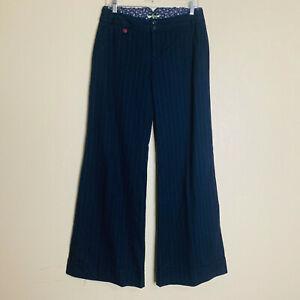 NWT Anthropologie ett:twa Blue Printed Wide-Leg Belted Sash Pants Trousers 6