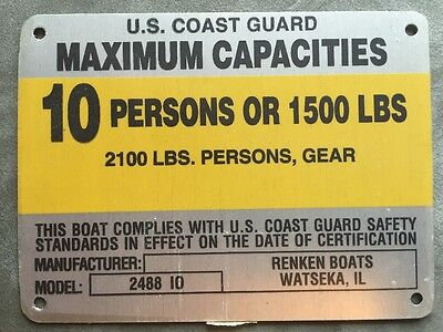 United Marine Corp Boat Capacity Plate~Tag 10 Person or 1500 Lbs//2100 Lbs W//gear