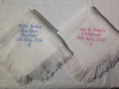 PERSONALISED BABY BLANKET SHAWL BIRTH CHRISTENING GIFT EMBROIDERED FEET//CROSS