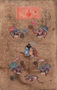 Shiva-Parvati-Ganesha-Art-Handmade-Spiritual-Hindu-Indian-Deity-Decor-Painting