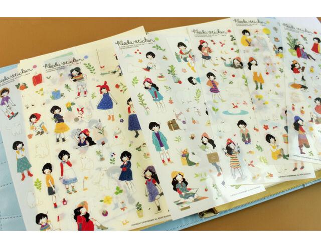 6sheets The second season sweet girl transparent Notebook Diary calendar sticker