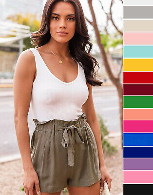 S M L Women's Woven Paperbag High Waist Shorts Tie Front Pockets Casual Solid  | eBay