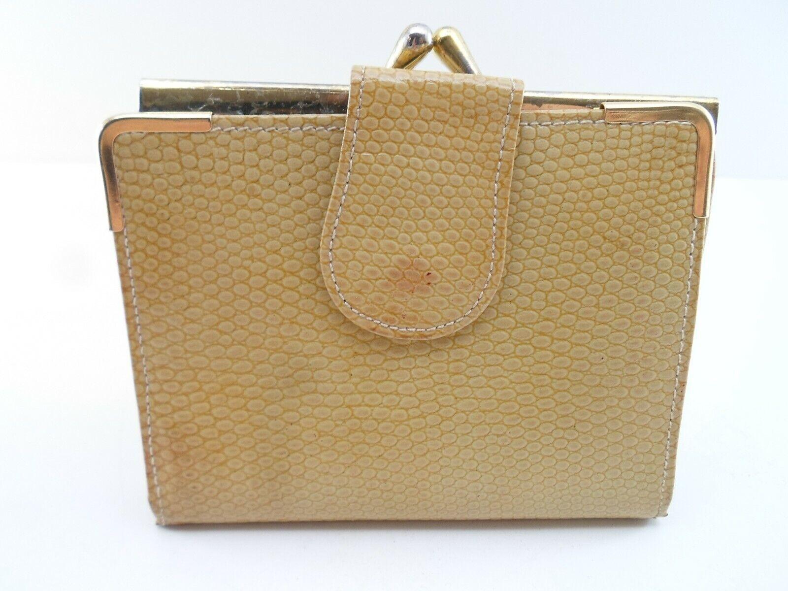 Lodis Vintage Made in England Faux Snakeskin Bifold Wallet Beige Brown 1980s