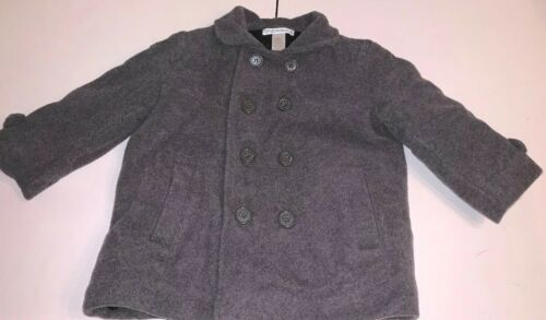 Janie And Jack Infant Boys Peacoat Sz 12-24M Gray Wool Cashmere