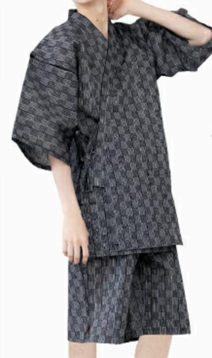 Japanese JINBEI Men's Summer Kimono wear Topps Half Pants from JAPAN #17 Black