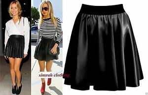 Women-Ladies-High-Waist-Bodycon-Faux-Leather-Wet-Look-Flared-Skater-Mini-Skirt