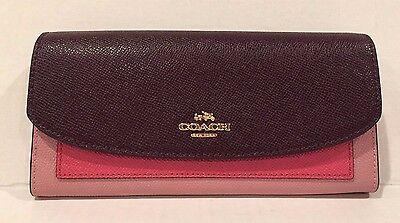 NWT Coach Colorblock Slim Envelope Wallet Strawberry/Oxblood Multi F56492