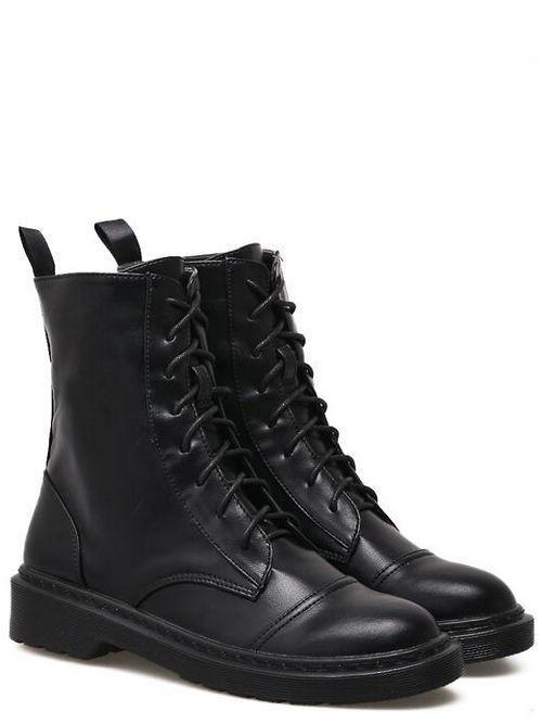 Bottes basses chaussures rangers 4 cm noir élégant comme cuir 9465