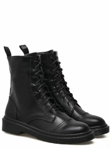 stivali stivaletti bassi scarpe anfibi 4 cm nero eleganti pelle sintetica 9465