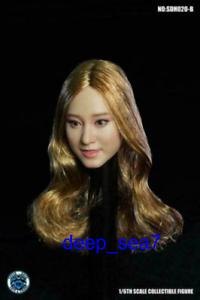 1:6 Super Duck SDH020B Smile Face Girl curls Head Sculpt Fit 12'' Action Figure