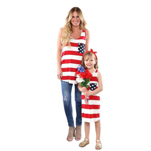 USA American Flag Family Matching Top Dress for Women Kid Girls Mother Daughter