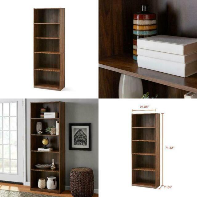 Mainstay 71 5 Shelf Bookcase Canyon Walnut