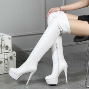 Women/'s High Heel Over Knee Thigh Boots Platform Nightclub Lace Up Patent Shoes