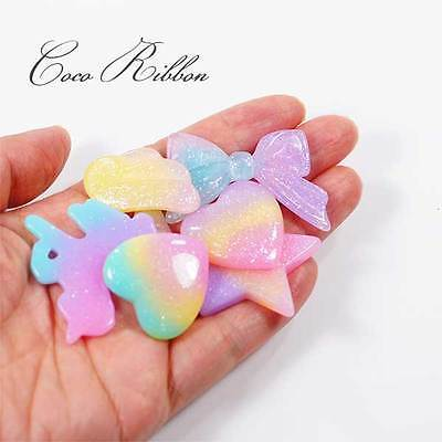 Gradient Pastel Glitter Unicorn Moon Bow Wing Star Flatback Resin Cabochon G07