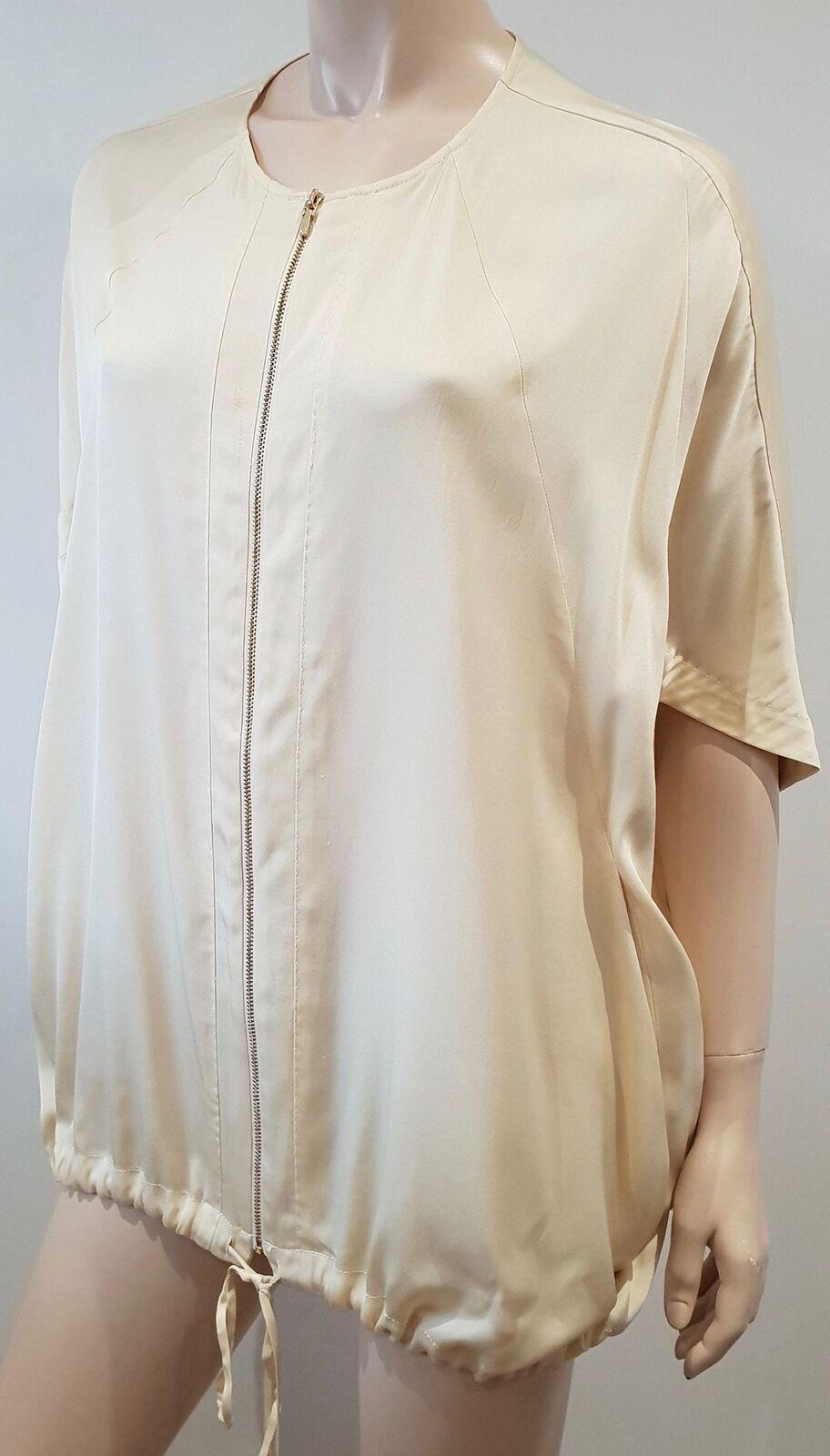TORY BURCH Cream Silk Short Sleeve Zip Fastened Short Sleeve Blouse Top 6 UK10
