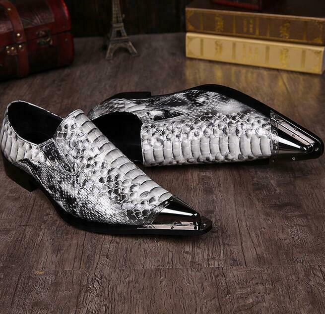 Mens Metal Pointy Toe Leather Wing Tip Slip on Brogue Real Leather Formal shoes