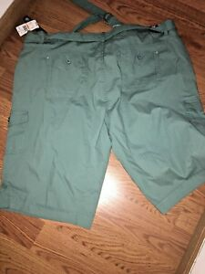 6567f5693dc LADIES PLUS SIZE 22W GREEN CARGO SKIMMER CAPRI LENGTH PANTS NEW