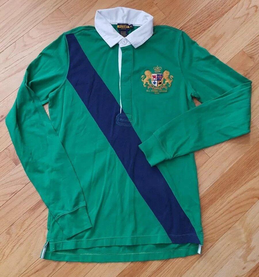 Ralph Lauren RUGBY Polo Shirt Crest Long Sleeve Striped Size Medium Green bluee