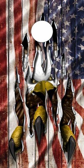 American Flag Wood Eagle Rip Claw  Cornhole Board Game Decal Wraps High Quality