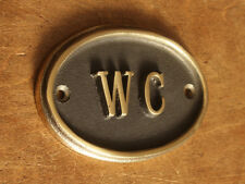 Brass WC Toilet Door Sign Ladies & Gents Bathroom Loo Old Vintage BATH-09-br