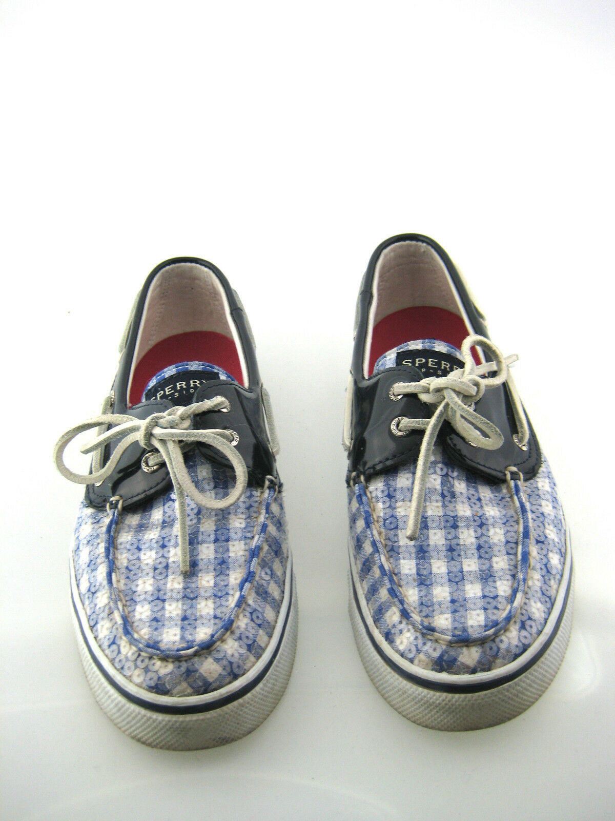 SPERRY TOP-SIDER bleu Plaid Sequin Boat chaussures Loafer Flat Taille 9