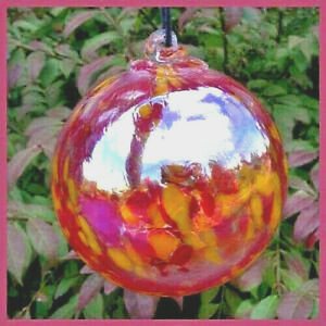 """Hanging Glass Ball 4/"""" Clear Glass with Red with Purple Swirls #35 1"""