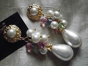 Pompoese-Ohrclips-gold-farben-weiss-grosse-Perlen-rose-mint-blau-klar-Neu-10-cm